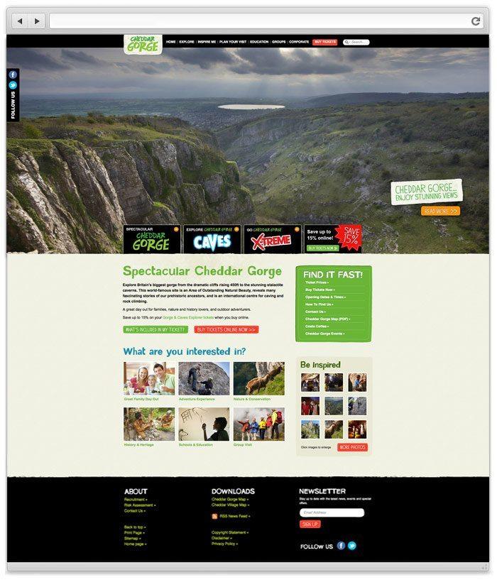 Cheddar Gorge website design