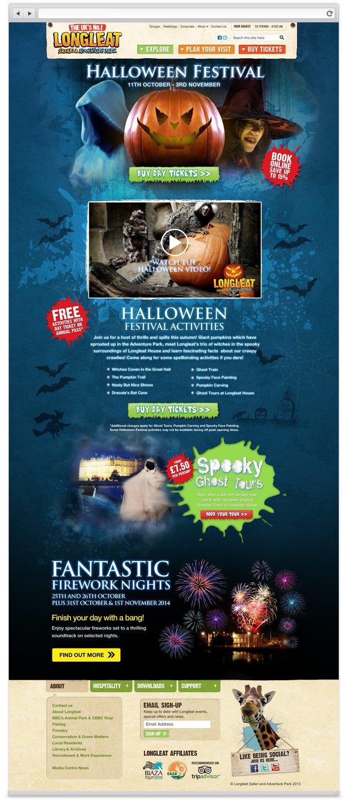 Longleat Halloween website design