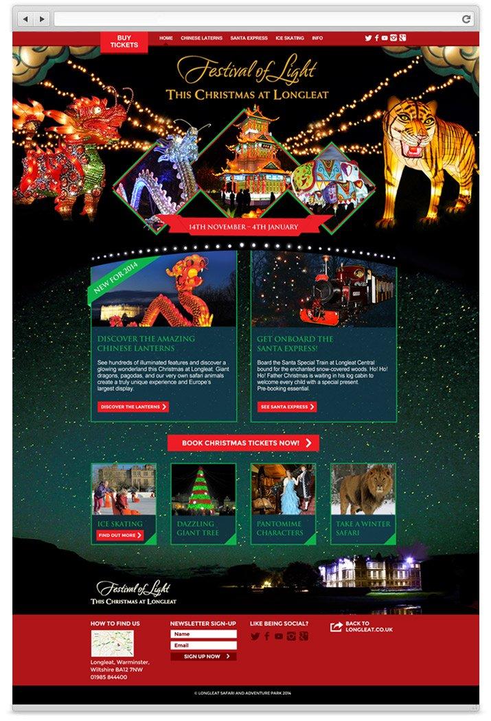 Longleat festival of Light website design