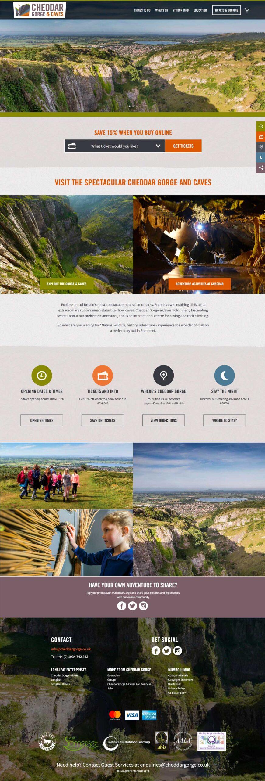 Cheddar Gorge full website visual